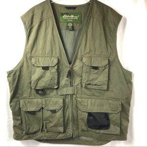 Eddie Bauer Sz L Men's Fishing Hunting Green Vest